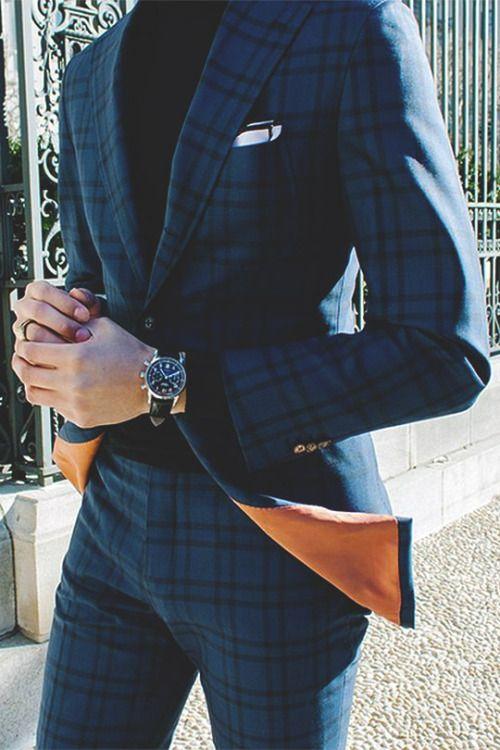 푸짐한 노치 옷깃 격자 무늬 옷감 신랑 턱시도 남자 웨딩 정장 댄스 파티 / 신사복 / 남성용 패션 천