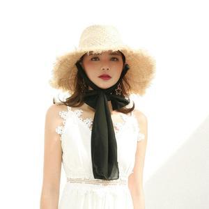 Image 5 - Fait à la main 100% raphia soleil chapeaux pour femmes noir ruban à lacets grand bord chapeau de paille en plein air plage été casquettes Chapeu Feminino