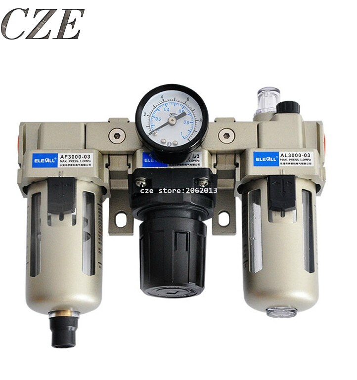 AC3000-03 Pneumatic Tools 3/8 Pneumatic FRL Air Filter Regulator Combination AF3000 + AR3000 + AL3000 Source Treatment Unit ac3000 series air filter combinations f r l combination ac3000 02 g1 4