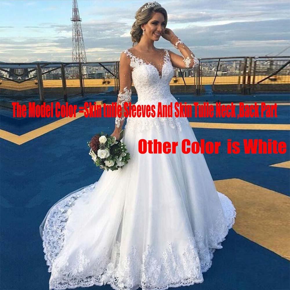 Vestido De Noiva Lace A Line Wedding Dress Nude Tulle ...