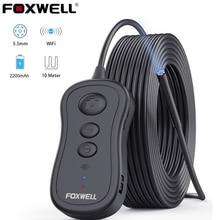 FOXWELL WiFi эндоскоп 5,5 мм беспроводной бороскоп Инспекционная камера 1080P HD водонепроницаемый светильник для iPhone, Android и планшетов