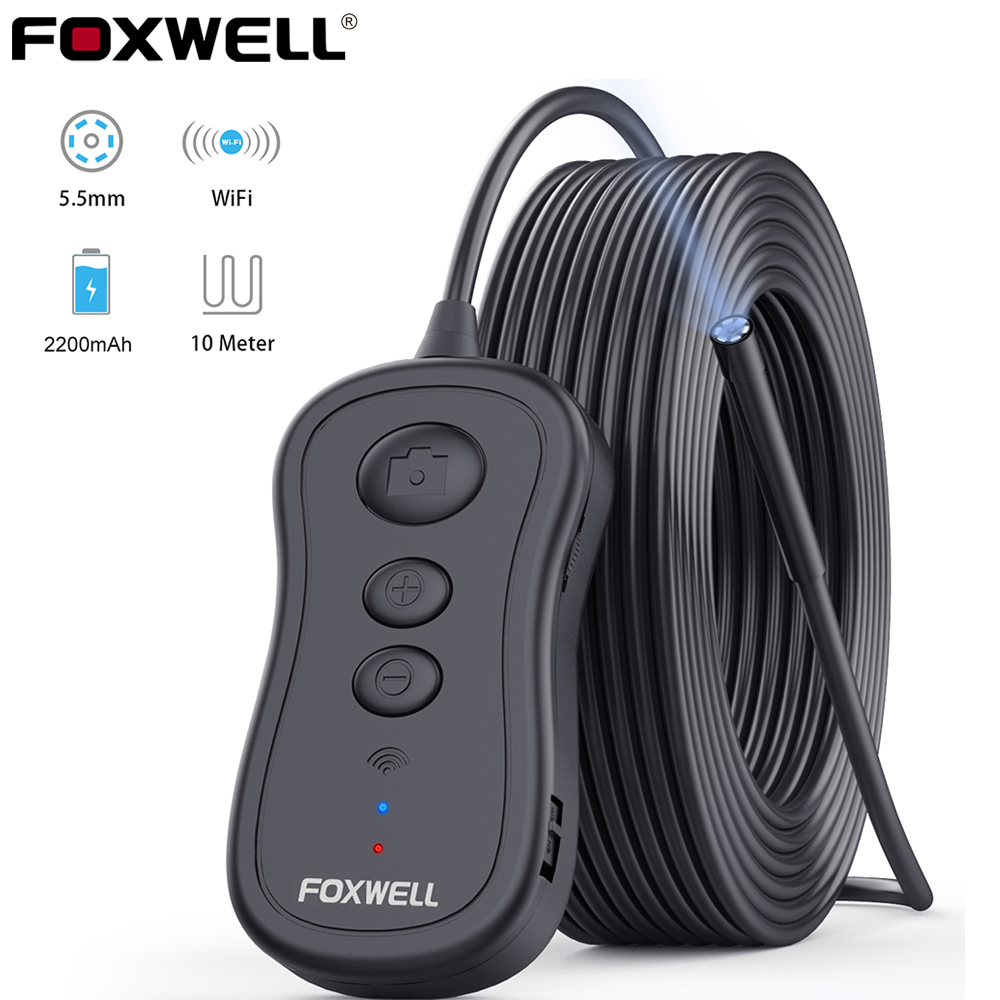 FOXWELL WiFi Endoscope 5 5mm Wireless Borescope Inspection Camera 1080P HD Waterproof with Light for iPhone  Android and Tablet