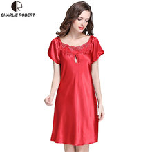 Новый женская Эротическое Белье Сатин Шелк Ночь Платье Плюс Размер S ~ 4XL Пижамы 9 Цвет Кружева Ночной Рубашке Элегантный Летнее Платье AP355(China (Mainland))