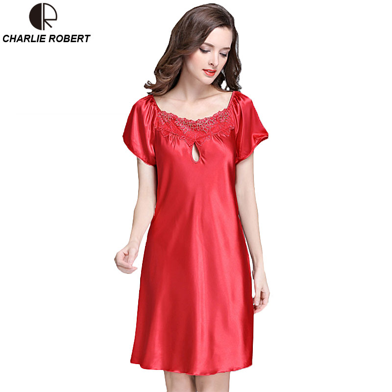 New Women's Sexy Lingerie Satin Silk Night Dress Plus Size ...