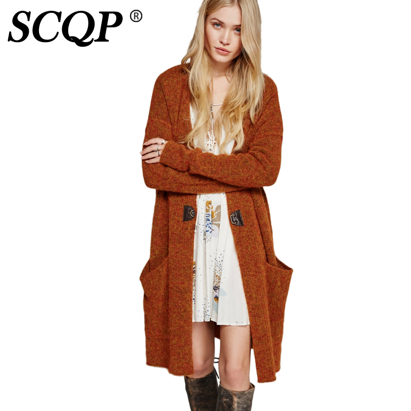 SCQP Solid Brown Single Button Long Cardigan Ladies Fashion Long ...