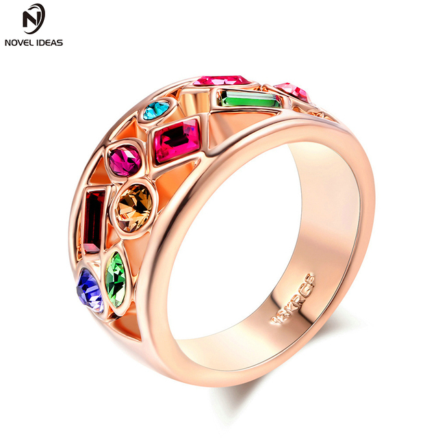 Novel ideas Vintage Jewelry Engagement Rings For Women Silver Plated Retro  Look Big Oval Red Austrian Crystal Ring