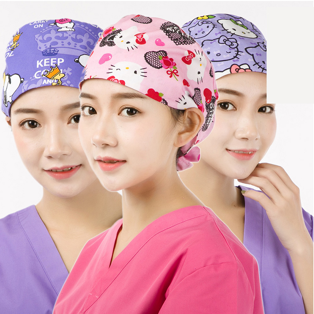 Medical Surgical Hat Dentist Pet Doctor Caps Scrub Cap Adjustable Cotton Doctor Medical Caps One Size Tie Back Straps Sweatband