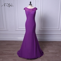ADLN Scoop Purple Mother of Bride Dress Simple Chiffon Cap Sleeve Floor length Plus Size Mermaid Party Gown