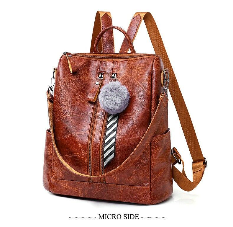 Rdywbu Vintage Multifunctional Backpack Big School Bag With Pompon Girls Large Back Pack Shoulder Travel Bag Female Bolsas B494