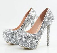 Серебряный Свадебная обувь с украшением в виде кристаллов для невесты очень высокий каблук на платформе bling блестящие стразы Свадебная обу