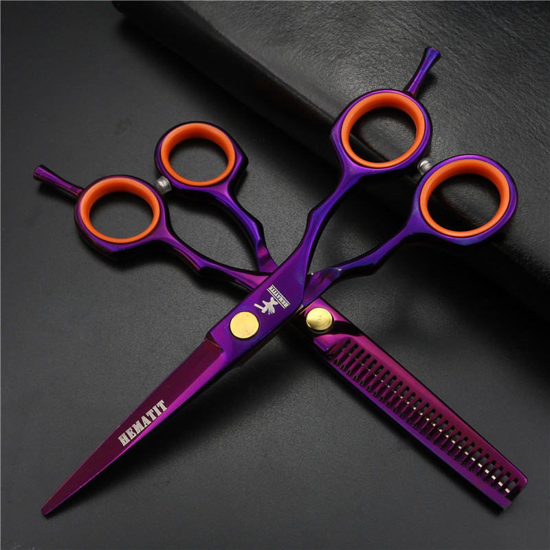 Purple 6 Inch Hairdressing Scissors Family Hairdressing Scissors Set High Quality Haircut Scissors Plus Thin Scissors