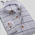 2016 Новое Прибытие Весна Осень Мужчины Рубашка Повседневный Длинным Рукавом Плед Формальные Марка Одежды Рубашки Бизнеса Человек Сорочка Homme N131