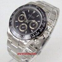 36 мм PARNIS черный циферблат сапфировое стекло cermaic ободок кварцевый хронограф мужские часы P1178