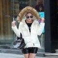 2016 зимняя куртка женщины меха с капюшоном хлопок мягкий вниз хлопка зимнее пальто женщин плюс размер XXL женщин parka зимы женщин куртки