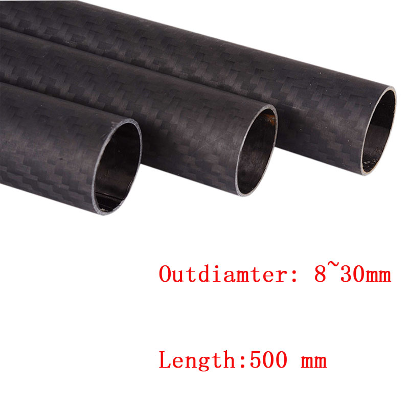 1pcs 3K Carbon Fiber Tube Pipe Length 500mm OD 8*6 8*10 12*10 16*14 20*18 22*20 25*23 30*28 Mm 18*20*500 Matte For RC Diy Part