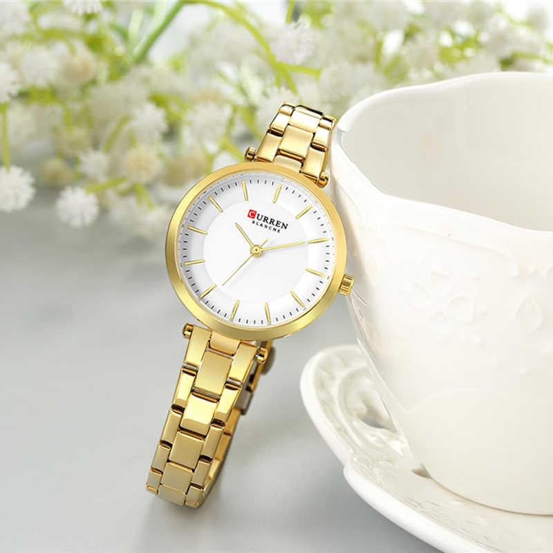 CURREN יוקרה מותג מינימליסטי קוורץ שעונים נשים רוז זהב צמיד שעון מזדמן Slim שעון לנשים שעוני יד עם פלדה