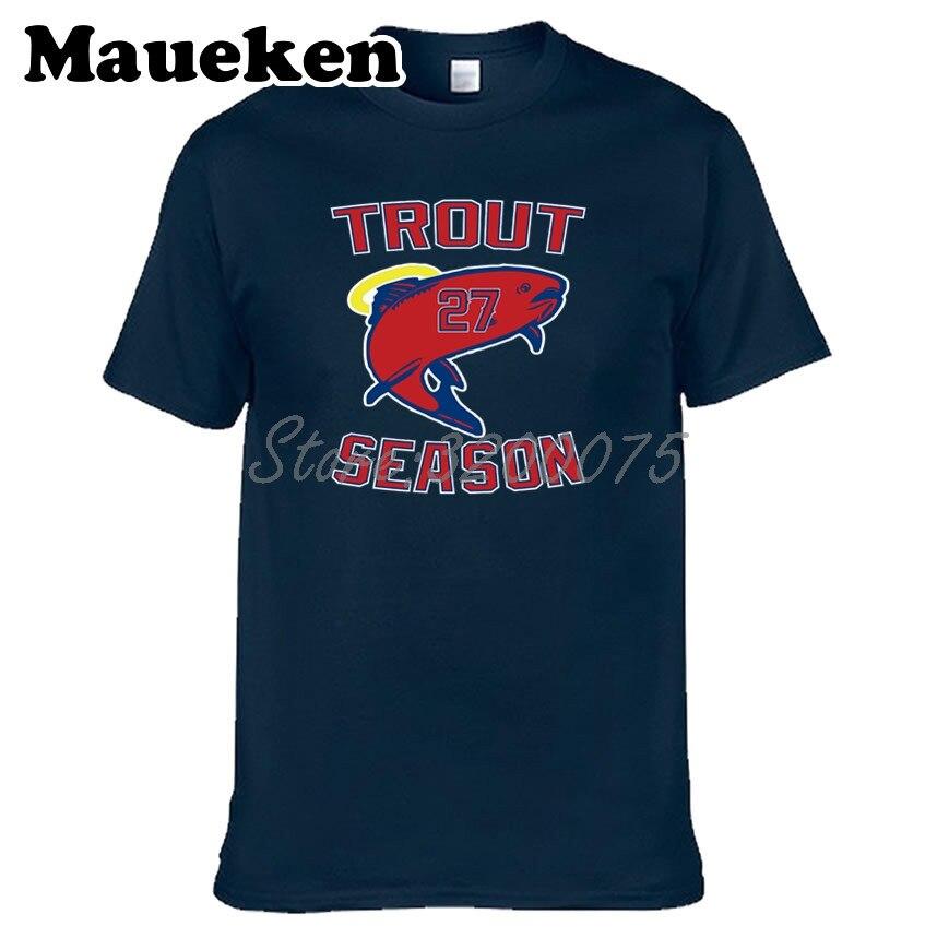 1e153084892 Men Los Angeles 27 Mike Trout Trout SEASON T-shirt Tees Short Sleeve  Anaheim Angels