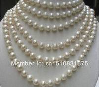 LONG 100 INCHES AA 8 9MM WHITE Akoya Cultured PEARL NECKLACExu39