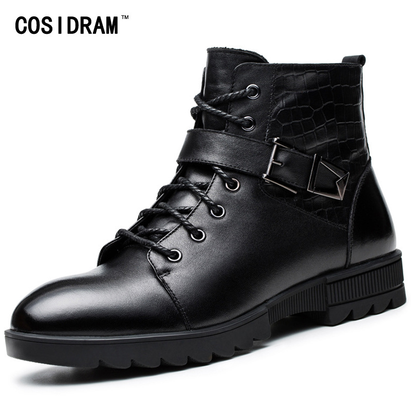 COSIDRAM Genuine Leather Warm Winter Shoes Men Boots With Fur Ankle Motorcycle Boots Plush Work Shoes Male Botas Hombre RMC-121  plush casual suede shoes boots mens flat with winter comfortable warm men travel shoes patchwork male zapatos hombre sg083