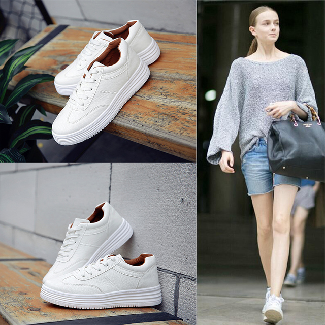Breathable Fashion White Shoes Slipony Women Footwear 2017 Spring Summer Pu lace up Casual Shoes Platform flat Students shoes