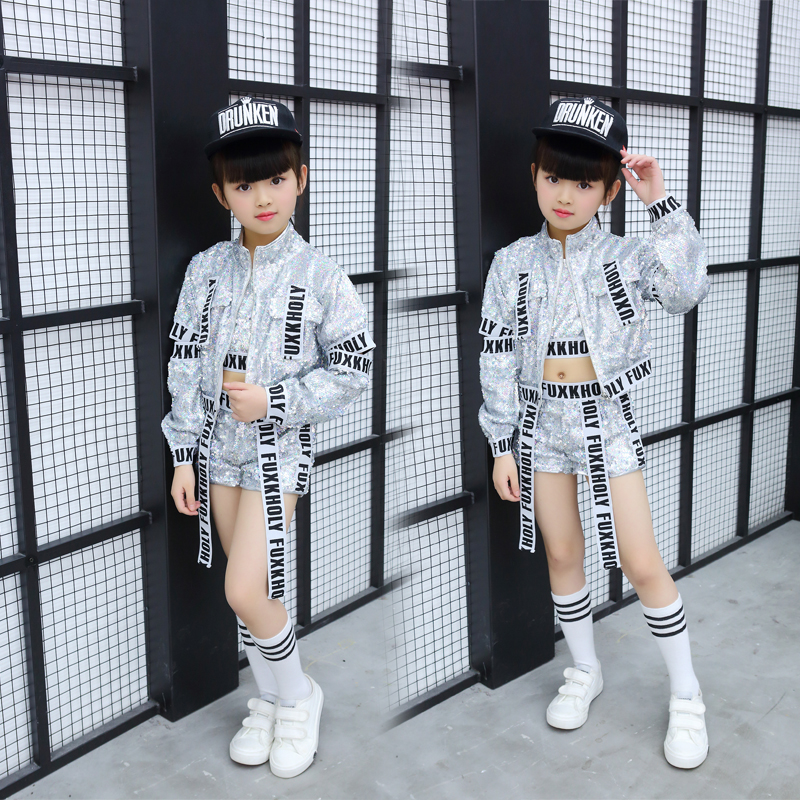 Hip Hop Suit Girls Jazz Dance Costumes Silver Sequins Vest Shorts Jacket Street Dance Clothing Kids Performance Wear Set DN1883