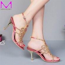 2016 Red Rhinestone Bridal Dress Shoes Women Summer High Heel Sandals Stiletto Heel Fashion Slippers Wedding Party Women Pumps