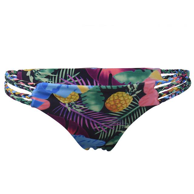 Sexy Bikini Set Flower Printed Braided Straps Push Up Padded Bikini