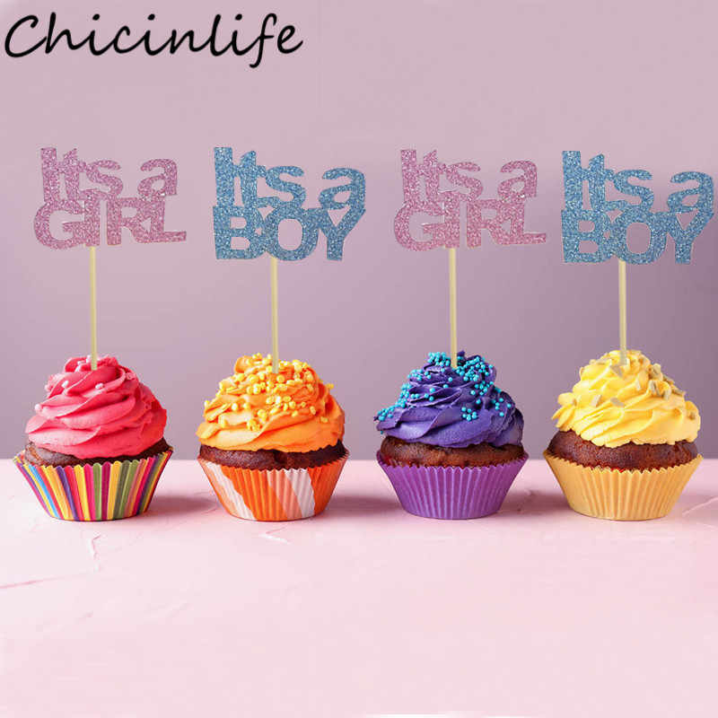 Chicinlife 5Pcs It's A Boy/Girl Cupcake Toppers Boy Girl Birthday Party Baby Shower Gender Reveal Party Newborn Cake Supplies