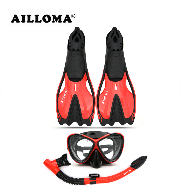 AILLOMA Adult Diving Equipment Sets Anti-Fog Diver Mask Fins Goggles Full Dry Snorkel Diver Breathing Scuba Diving Tube Flipper 2018 new warrior full face full dry anti fog anti leak breathing tube diving mask with tempered lens goggles diving glasses