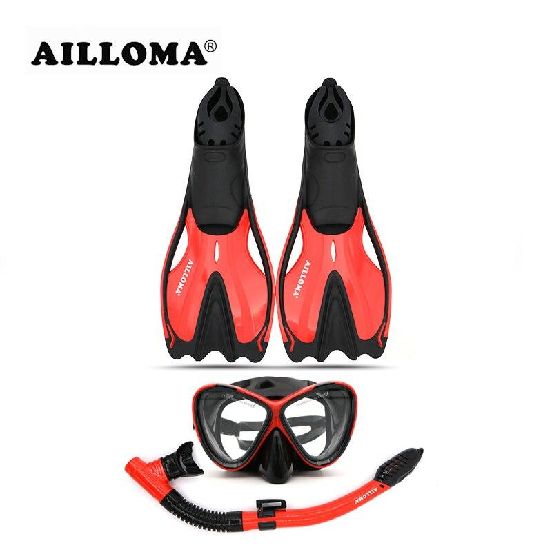 AILLOMA Adulto Attrezzatura Subacquea Set Anti-Fog Diver Maschera Pinne Occhiali Full Dry Snorkel Diver Tubo di Respirazione Scuba Diving flipper