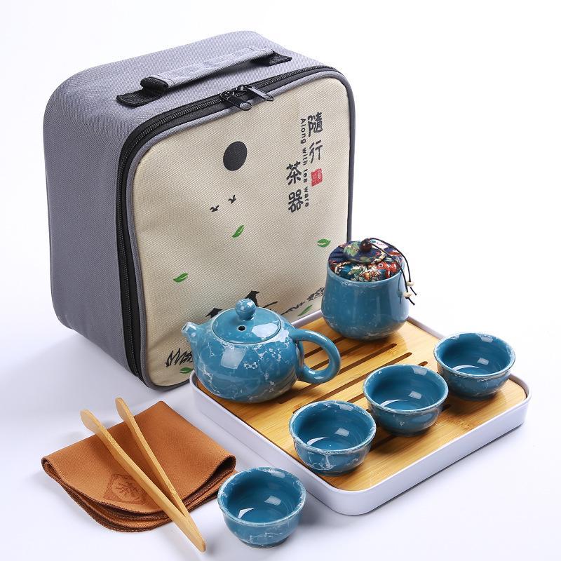 Set de thé Kung Fu de voyage chinois en céramique Portable thé à thé en porcelaine Gaiwan voyage Kung Fu plateau de thé sec de voyage en plein air avec sac