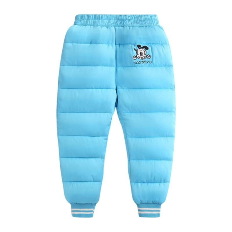 2018 Kacakid Winter Children Warm Down Pants Plus Thick Velvet Trousers Kids Down Pants for Boys Grils Snow Pants 0~5Y Y6