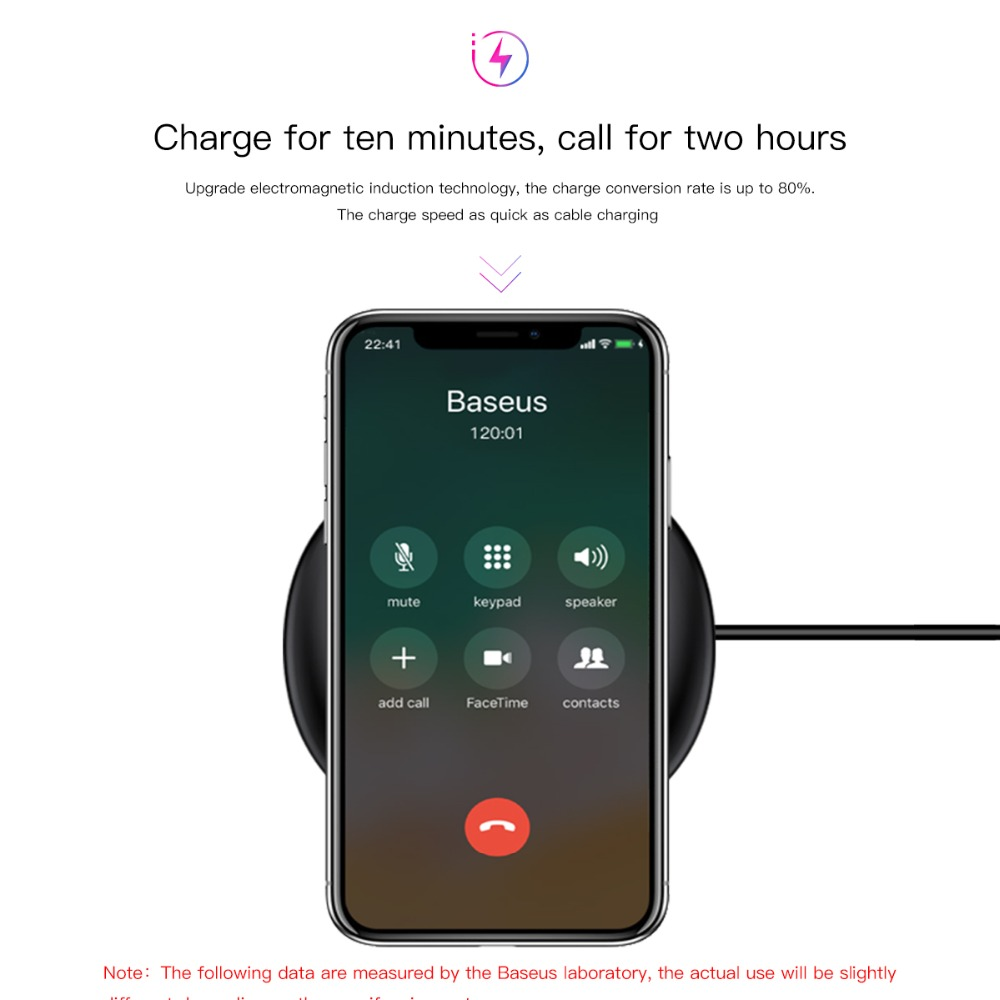 Image 2 - Baseus ufo carregador sem fio para iphone x 8 xr xs para samsung  nota 10 s10 s9 10 w qi almofada de carregamento sem fio para p30 xiaomi  mi 8 9phone wireless chargerwireless chargerqi wireless charger -