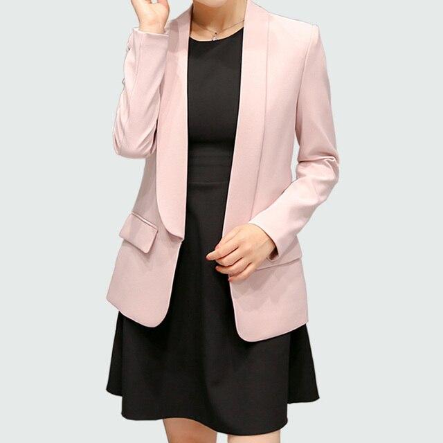 ผู้หญิงเสื้อใหม่ฤดูใบไม้ผลิ2017ฤดูใบไม้ร่วงสุภาพสตรีบางแจ็คเก็ตยาวแขนซ่อนกระดุมขนาดบวกสีเทา/สีชมพูเข้มเสื้อFeminino