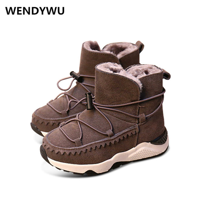 WENDYWU winter genuine leather shoes boys brand black boots for baby girls  fashion gray warm boots children ankle boots 99ef9312eb0f