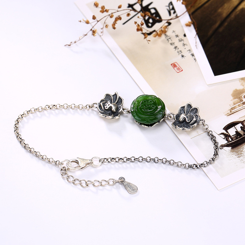 New silver S925 pure silver natural Hetian jade lotus lotus ancient retro personality chain girl accessories wholesale