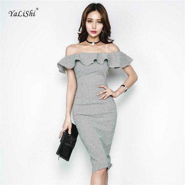 Plus Size Women Bodycon Bandage Dress Summer Black Slash Neck Butterfly  Sleeve Plaid Party Elegant Office Pencil