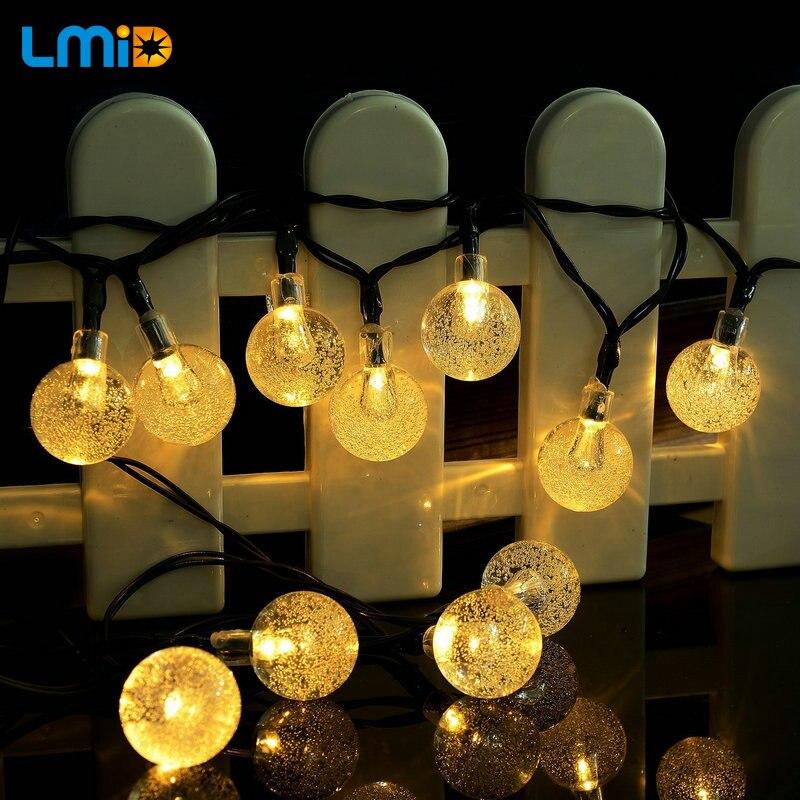 Warm White Solar Garden Fairy Lights: LMID Solar Lamps Crystal Ball Luz Waterproof Colorful Warm