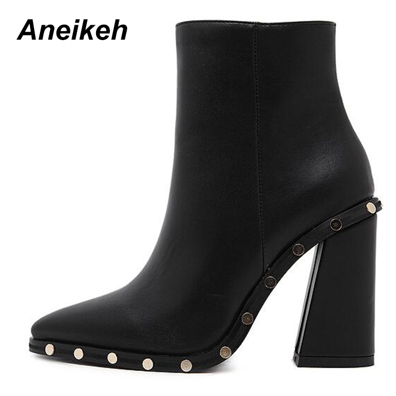 Aneikeh Sexy Rivet High Heels Boots Women Pointed Toe Ankle Boots PU leather Zippe Shoes Woman Autumn Winter Booties D-3787# Aneikeh Sexy Rivet High Heels Boots Women Pointed Toe Ankle Boots PU leather Zippe Shoes Woman Autumn Winter Booties D-3787#