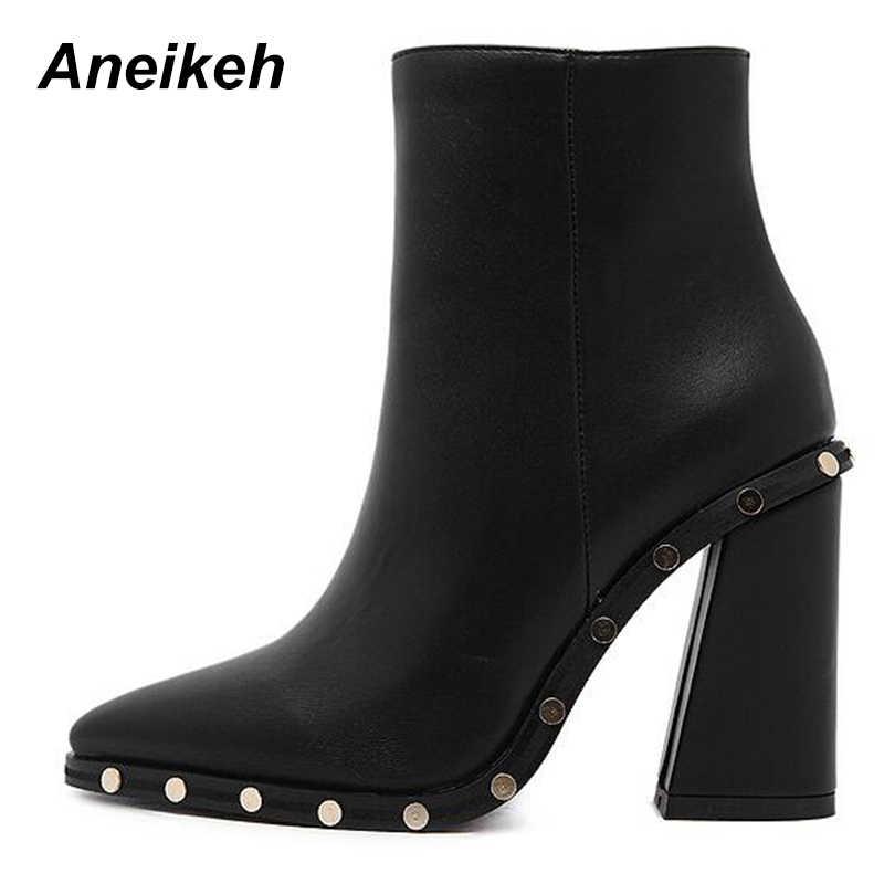 Aneikeh пикантные ботинки на высоком каблуке с заклепками, женские ботильоны  с острым носком, 9390458acb8