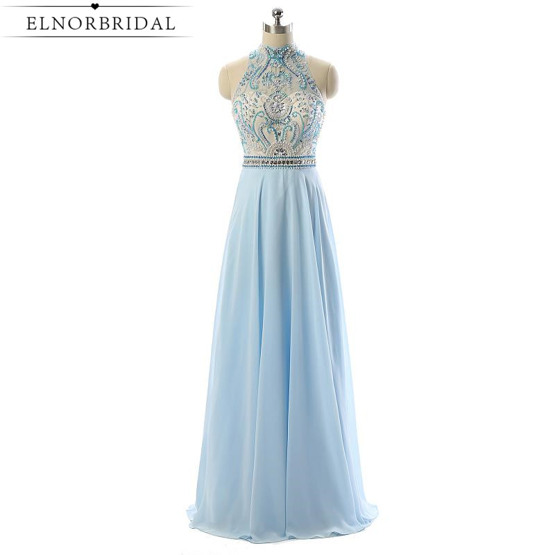 Light Sky Blue Beading Prom Dress 2017 Luxury Robe De Soiree Longue A Line Chiffon Special Occasion Party Gowns Evening Dress
