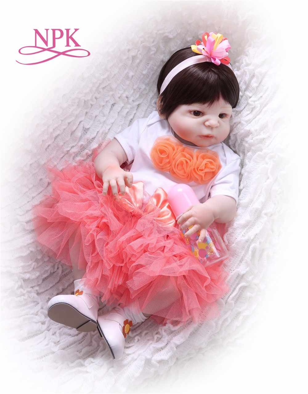 все цены на NPK 23inch 57cm bebe Reborn Baby Dolls full Silicone Reborn Bebe Doll Vinyl Toys gifts cute gift For Girls and boys pink heart онлайн
