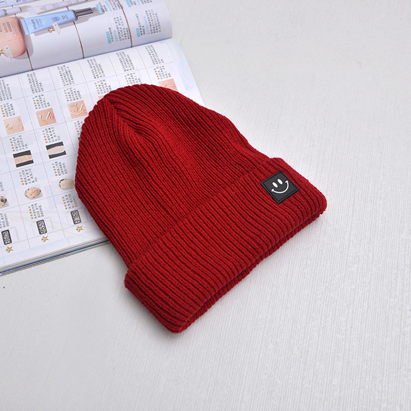 Cute Smile Crochet Knit Cap Beanie 2019 Autumn New Solid Warm Skullies Beanies Caps Female Knitted Hat Ladies Girls Winter Hats 1