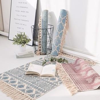 Kelim Blau 100 Baumwolle Wohnzimmer Teppich Geometrische Indische