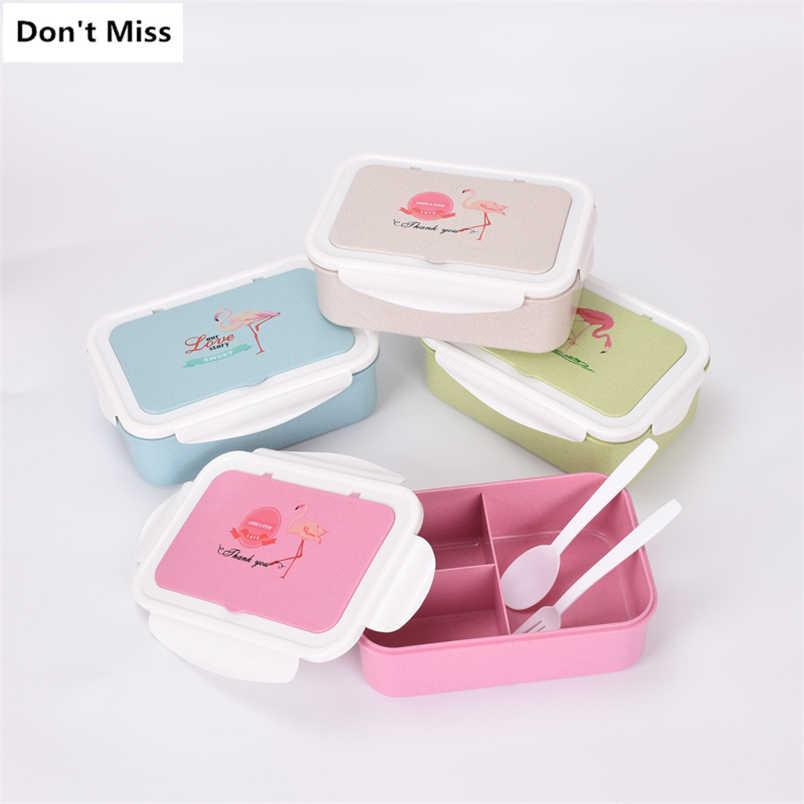 ญี่ปุ่นไมโครเวฟกล่อง Bento ฟางข้าวสาลีเด็กกล่องอาหารกลางวัน Leak - Proof Bento กล่องอาหารกลางวันสำหรับโรงเรียนเด็กอาหาร fiambrera
