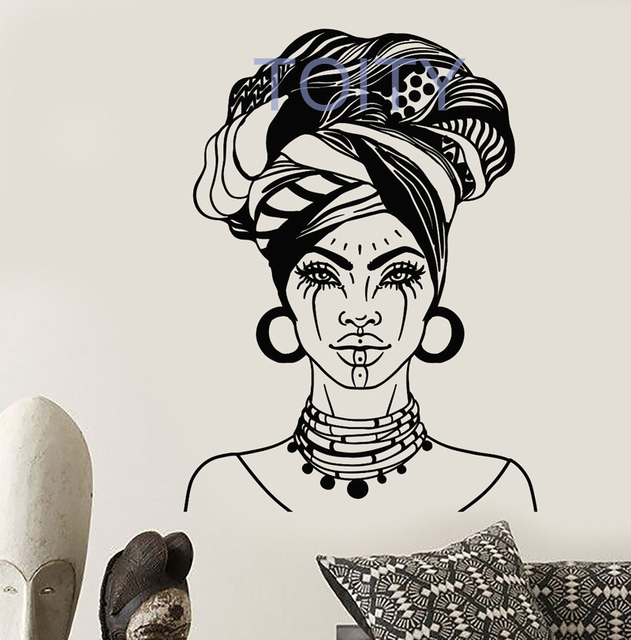 African Woman Head Turban Native Face Tattoos Wall Decal
