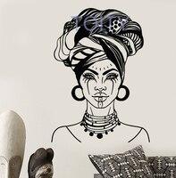 African Woman Head Turban Native Face Tattoos Wall Decal Vinyl Sticker Home Decor Ideas Room Interior Bedroom Wall Art Mural