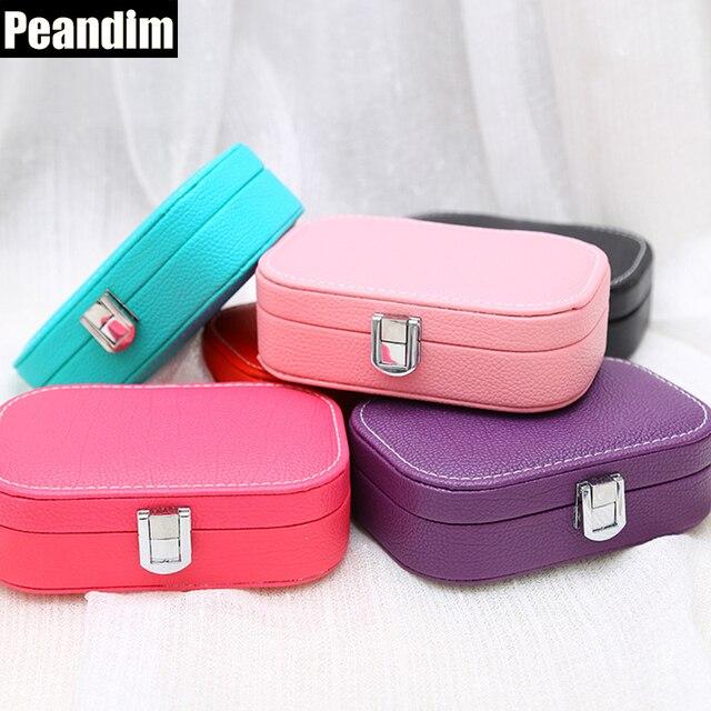 PEANDIM Creative Mini Jewelry Box Leather Organizer Box Ring