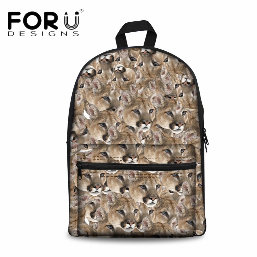 FORUDESIGNS Cute Animal Printing Canvas Backpack for Teenagers Children School Book Bag Casual Campus Back Pack Mochila Infantil