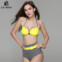 Fast Free Shipping 2015 New Arrival Yellow Striped Bikinis Set For Women High Waist Swimwear S